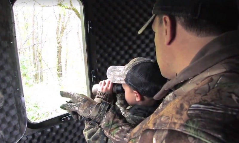 A turkey hunting blind is ideal for hunting with youngsters, as they have the freedom to talk lowly and are less likely to miss a shot due to movement.