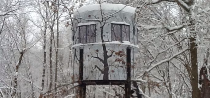 Hunt deer in any weather banks outdoors for Building deer blind windows